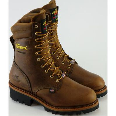 Thorogood Logger Men's 9-inch Steel Toe Electrical Hazard 400G Insulated Waterproof Logger Boots, , large