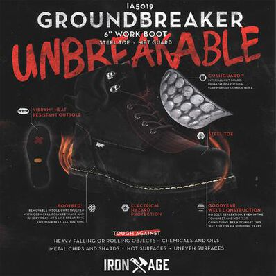 Iron Age Groundbreaker Men's 6 inch Steel Toe Electrical Hazard Internal Met Guard Work Boot, , large