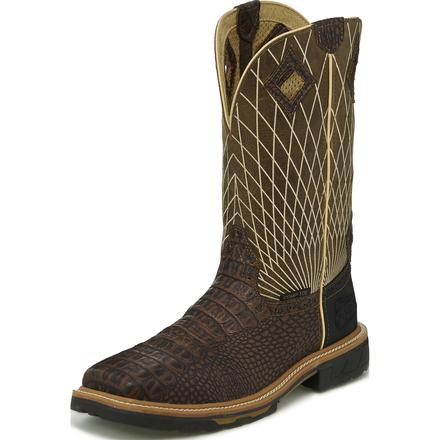 Justin Work Hybred® Derrickman Croc Print Men's 12 inch Composite Toe Electrical Hazard Pull-on Western Work Boots