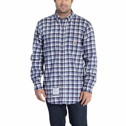 Carhartt Classic Plaid Flame-Resistant Shirt, NAVY, large