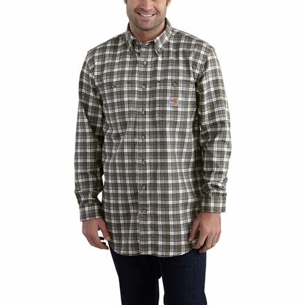 Carhartt Classic Plaid Flame-Resistant Shirt, GRAY, large